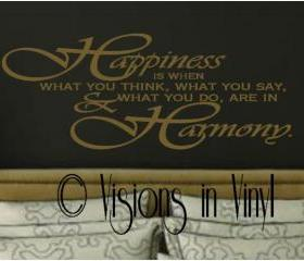 Happiness and Harmony Vinyl Wall Decal