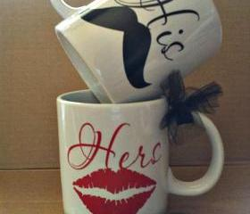 His and Hers Mustache Coffee Cups